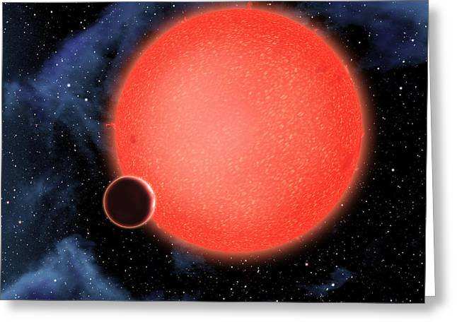 Exoplanet Gj 1214b Illustration Greeting Card by NASA / European Space Agency