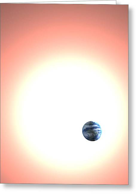 Expanding Sun And The Earth, Artwork Greeting Card by Christian Darkin