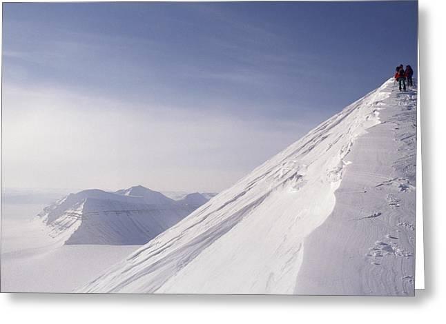 Expedition Skiers Climb Nemtinov Peak Greeting Card by Gordon Wiltsie