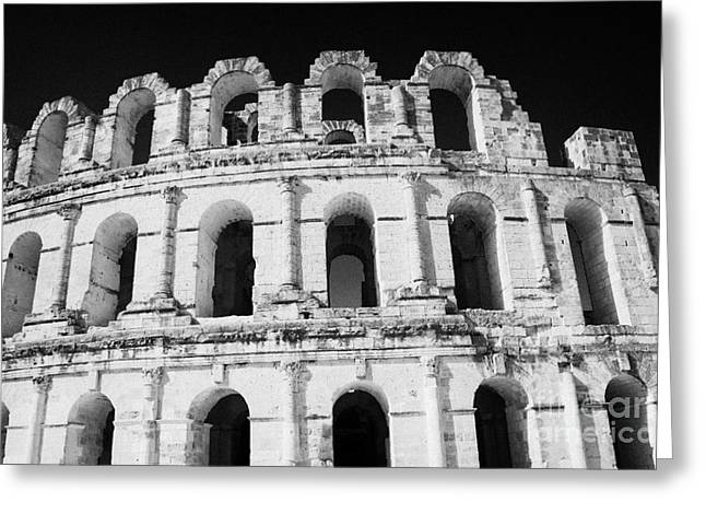 External View Of Three Upper Tiers Of Archways Of Old Roman Colloseum El Jem Tunisia Greeting Card by Joe Fox