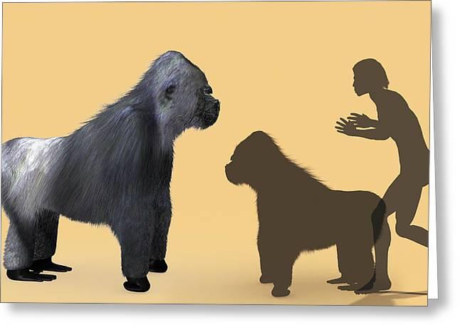 Extinct Giant Gorilla Greeting Card by Christian Darkin