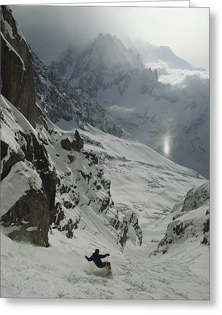 Extreme Skier Jean Franck Charlet Greeting Card by Gordon Wiltsie