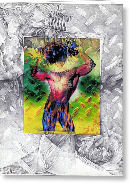 Eye-con Digi-man Greeting Card by Leo Vincent