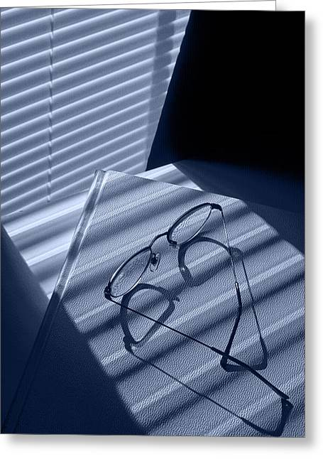 Eye Glasses Book And Venetian Blind In Blue Greeting Card by Randall Nyhof
