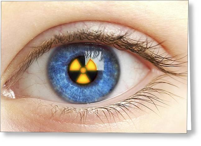 Eye With Radiation Warning Sign Greeting Card by Pasieka