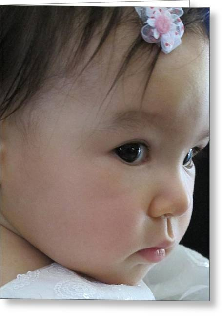 Eyes Of Innocence Greeting Card by Valia Bradshaw