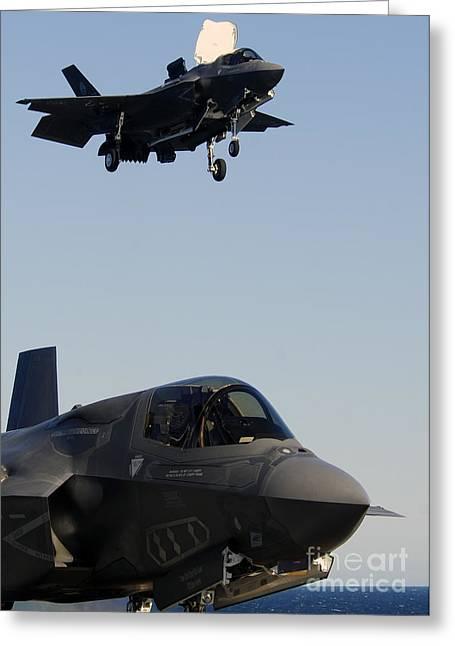 F-35b Lighnting II Variants Land Aboard Greeting Card by Stocktrek Images