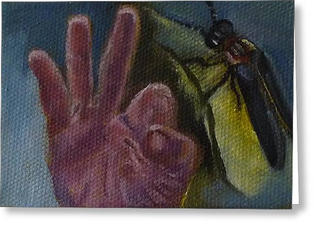 Greeting Card featuring the painting F Is For Firefly by Jessmyne Stephenson