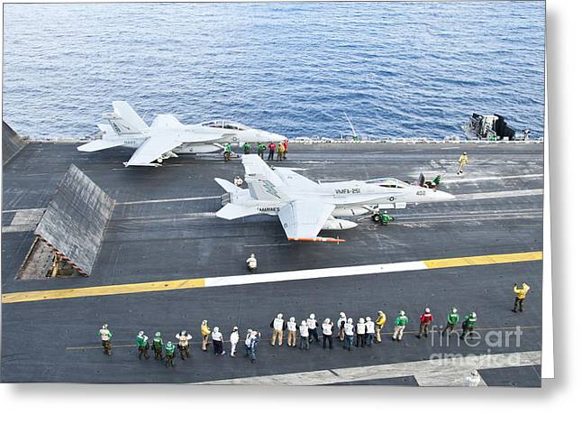 Fa-18 Aircraft Prepare To Take Greeting Card by Stocktrek Images