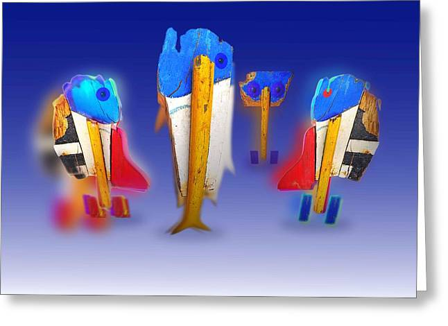 Fab Four Greeting Card by Charles Stuart