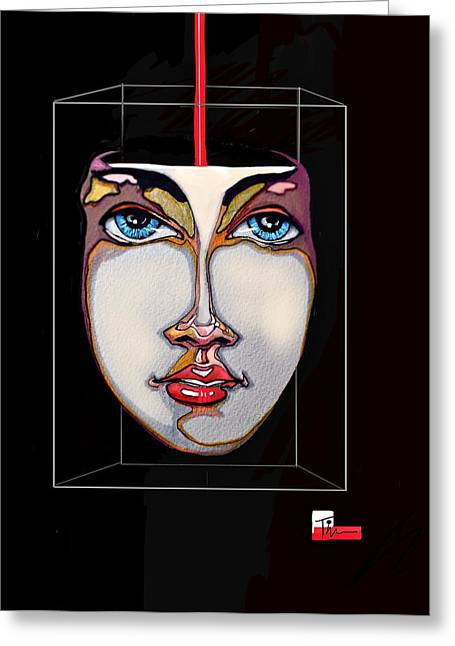 Face In A Box Greeting Card by Tim  Conroy