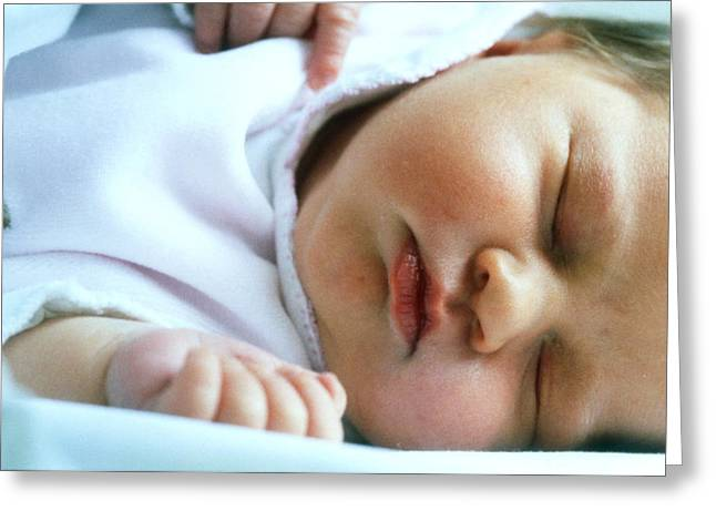 Face Of A Premature Baby Wrapped In Warm Clothing Greeting Card
