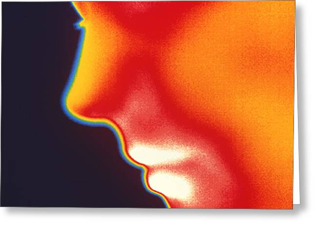 Face Thermogram Greeting Card by Tony Mcconnell