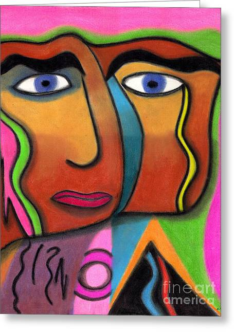 Face With Pink And Green Background Greeting Card