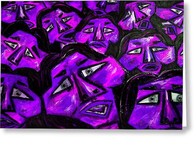 Faces - Purple Greeting Card by Karen Elzinga