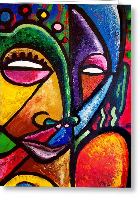Faces Greeting Card by Kevin McDowell