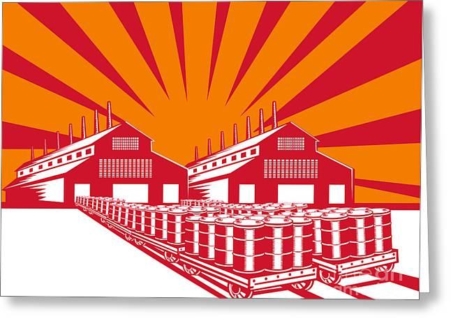 Factory Building Oil Drum Barrel Retro Greeting Card