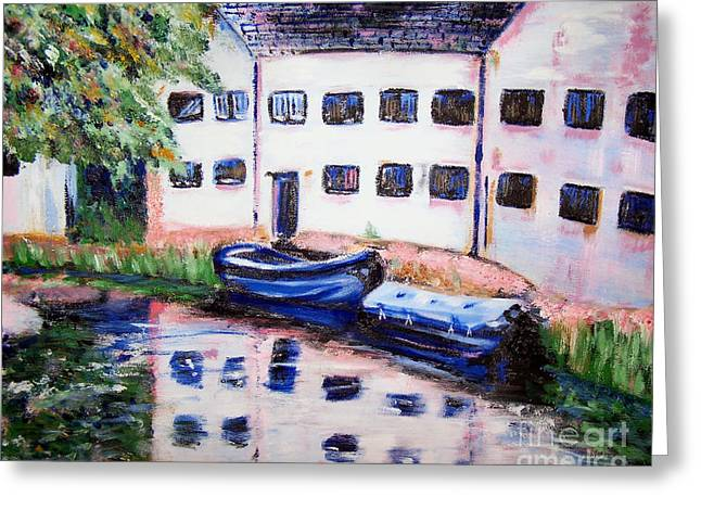 Factory On The River Greeting Card by Isabella F Abbie Shores FRSA