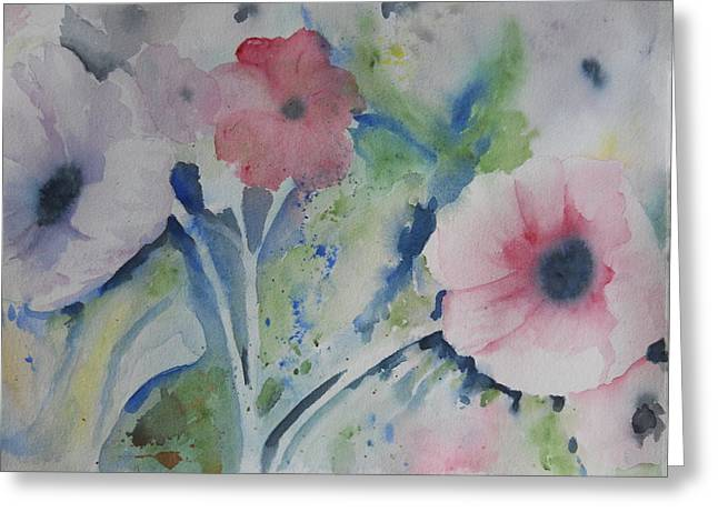 Faded Poppies Greeting Card