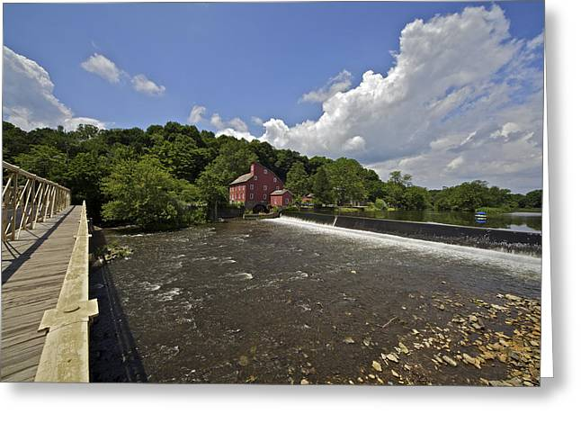 Faded Red Water Mill On The Dam Of The Raritan River Greeting Card by David Letts