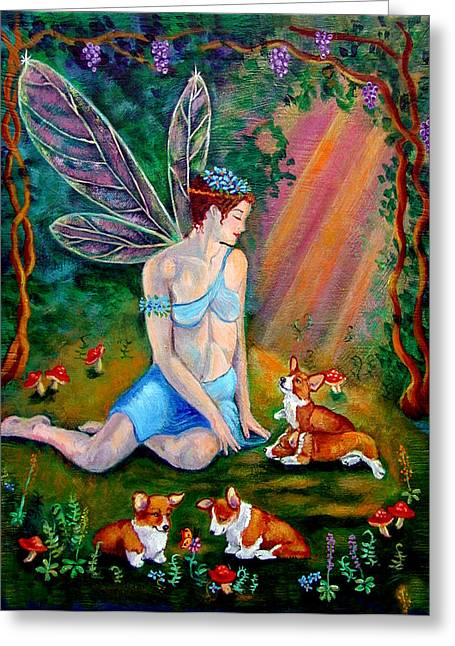 Fae And Corgi Pups Greeting Card by Lyn Cook