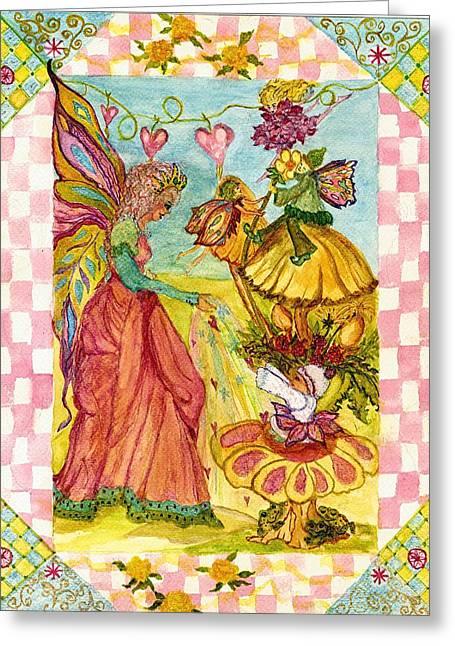 Faeries And Frogs Fantasy Greeting Card by Cheryl Carrabba