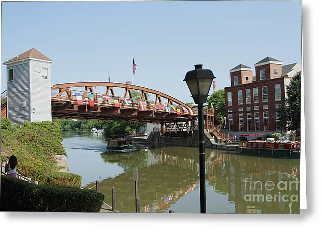 Greeting Card featuring the photograph Fairport Lift Bridge by William Norton