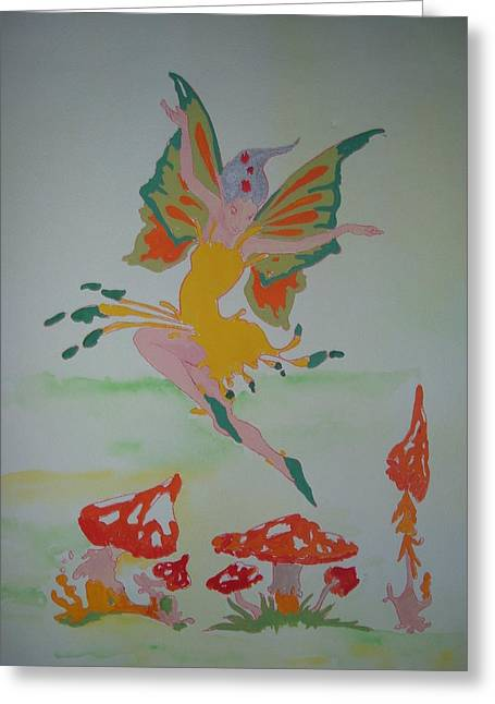 Fairy Over The Toadstools Greeting Card by Susanne Lawrence BA Hons