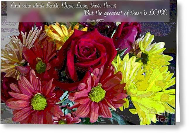 Faith Hope Love II Greeting Card by Debbie Portwood