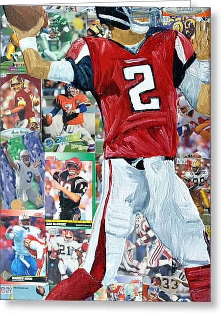 Falcons Quaterback Greeting Card by Michael Lee