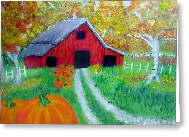 Fall And Pumpkin Harvest Greeting Card by Donna Jenkins