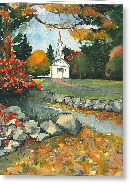 Fall At Martha-mary Chapel - Sudbury Greeting Card