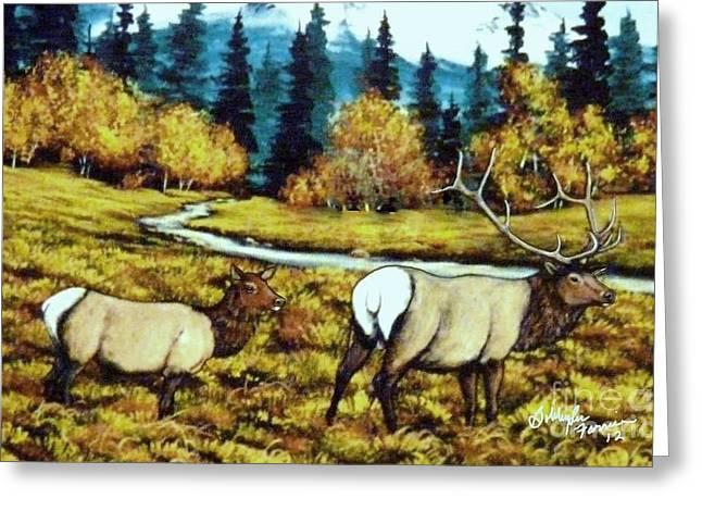 Fall Elk Greeting Card by Bobbylee Farrier