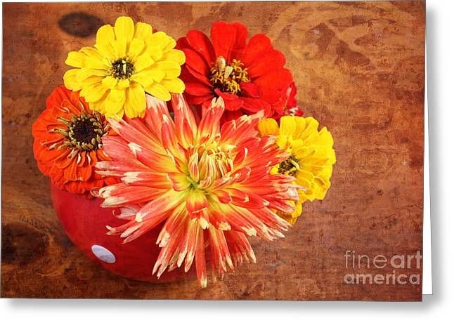 Greeting Card featuring the photograph Fall Flower Arrangement by Verena Matthew