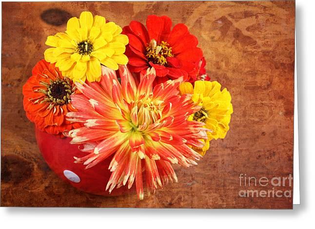 Fall Flower Arrangement Greeting Card by Verena Matthew