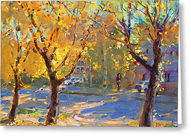 Fall In My Neighborhood Greeting Card by Ylli Haruni