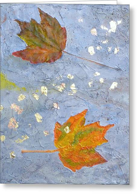 Greeting Card featuring the painting Fall Leaves by Robert Decker