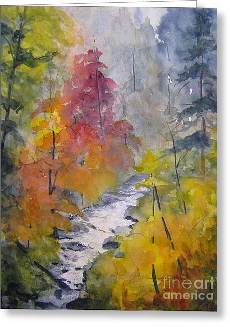 Fall Mountain Stream Greeting Card by Gretchen Allen