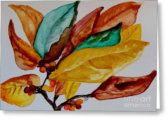 Fall Painted Leaves And Berries Greeting Card