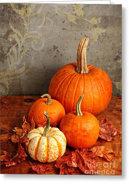 Greeting Card featuring the photograph Fall Pumpkin And Decorative Squash by Verena Matthew