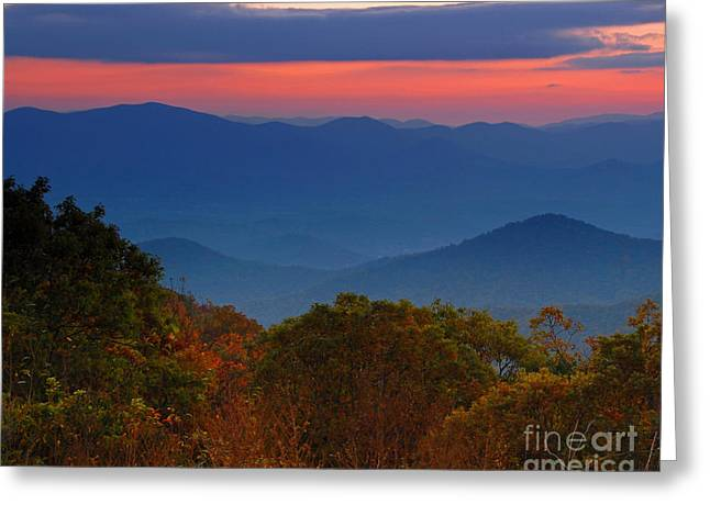 Fall Sunset Sky At Brasstown Bald Georgia Greeting Card