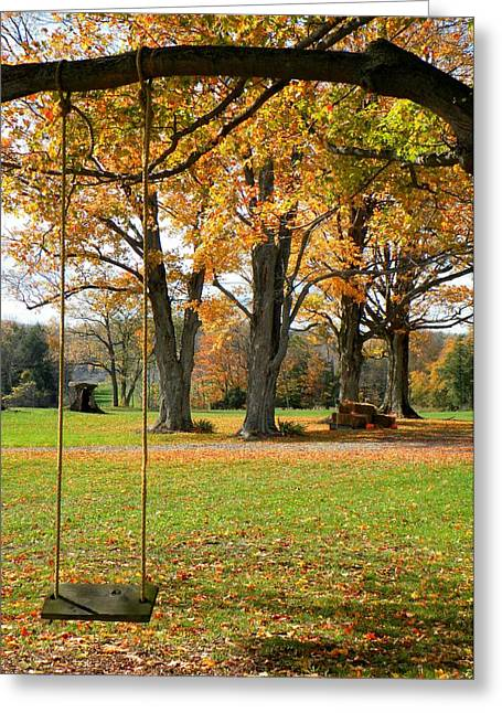 Fall Swing Greeting Card by Jennifer Compton