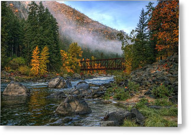 Fall Up The Tumwater Greeting Card by Brad Granger