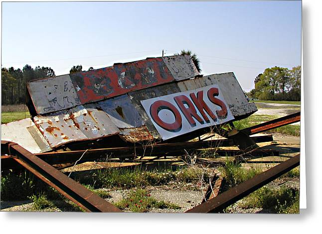 Fallen Sign Greeting Card by Steve Sperry