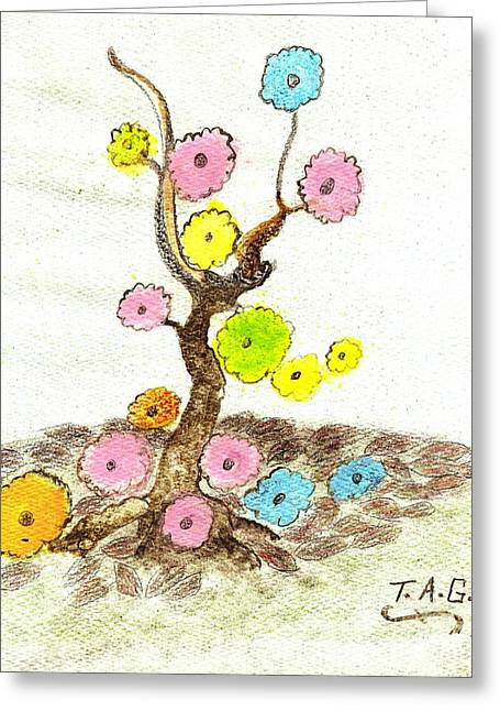 Falling Flowers Greeting Card