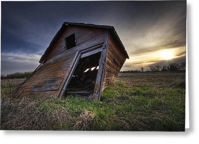 Falling Granary At Sunrise,  Prairies Greeting Card by Dan Jurak