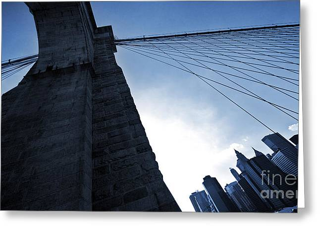 Falling Lines - Brooklyn Bridge Greeting Card by Thomas Splietker
