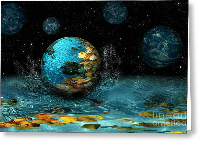 Greeting Card featuring the digital art Falling Stars by Rosa Cobos