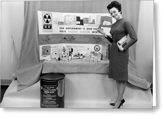 Fallout Shelter Supplies, Usa, Cold War Greeting Card