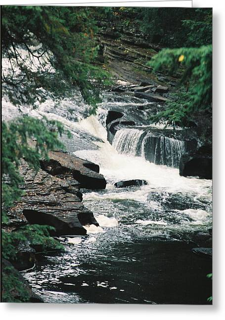 Falls On Presque Isle River Greeting Card by C E McConnell